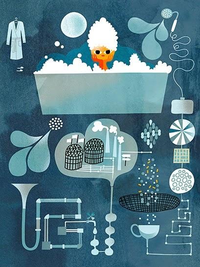 girl in blue bubble bath illustration by Sanna Mander