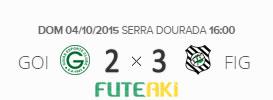 O placar de Goiás 2x3 Figueirense pela 29ª rodada do Brasileirão 2015