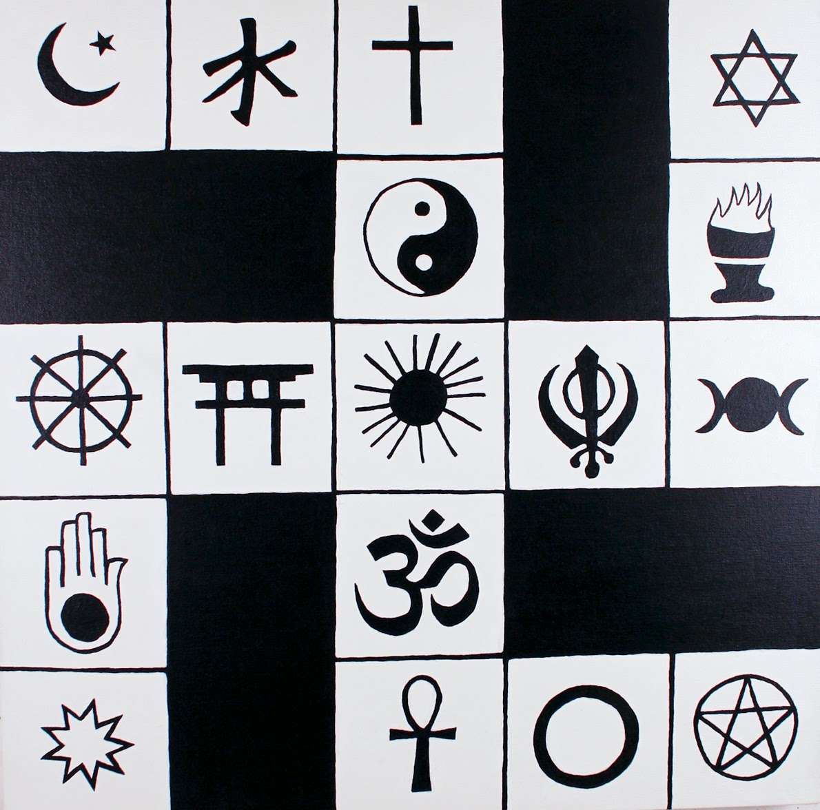Peter reynosa it is a swastika with religious symbols in it it was created to remind people how the swastika is found in many religions and that it is a good symbol biocorpaavc