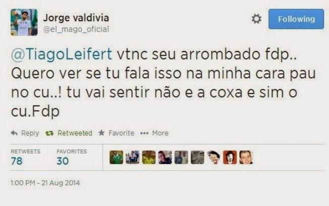 Valdívia, o chileninho chinelinho xinga repórter da Globo no Twitter