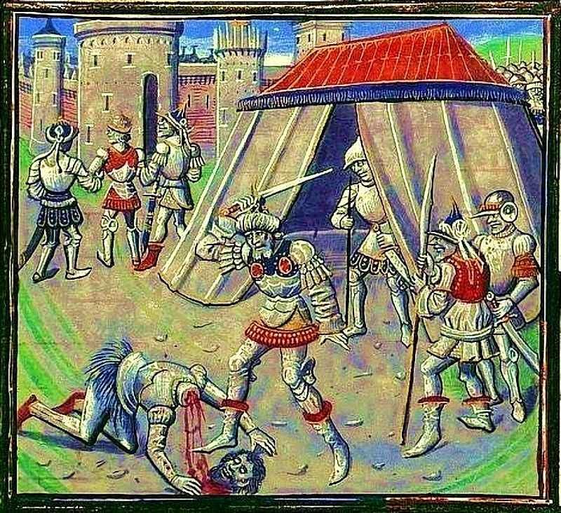 Morte de Reinaldo de Châtillon (Historia de Guilherme de Tiro, folio 399).