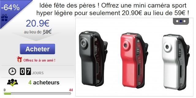 Mini caméra sport hyper légère pour seulement 20.90€ au lieu de 59€ bon plan fete des peres bon plan camera pas cher