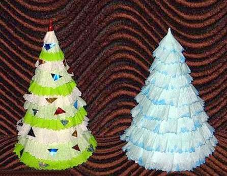 C mo hacer un rbol de navidad con papel crep - Arbol de papel manualidades ...