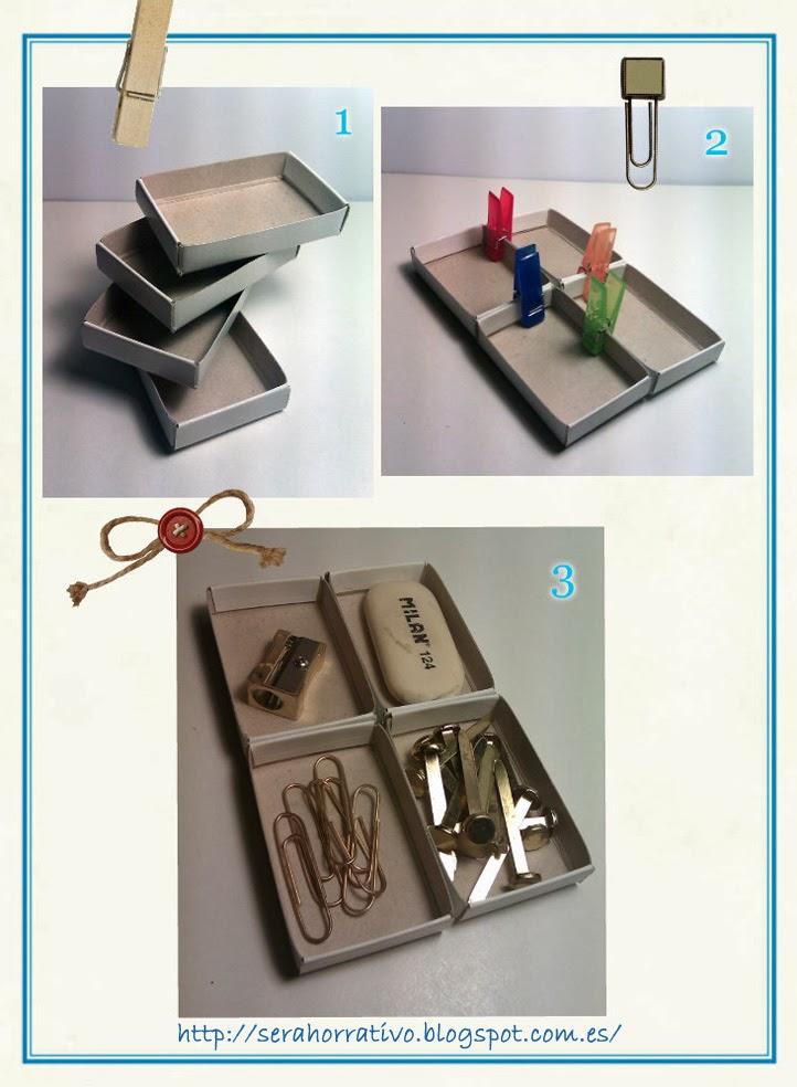 caja de cerillas reutilizada para organizar escritorio