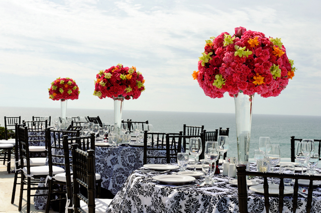 Pink Black White Damask Wedding Reception Decor