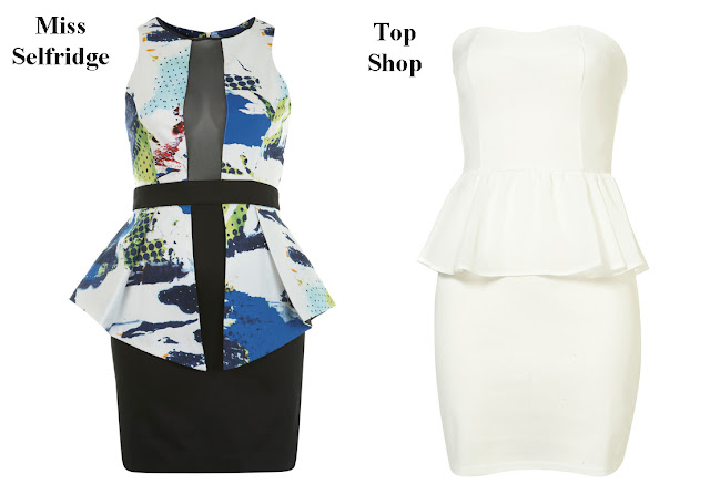 Vestido Peplum Miss Selfridge y Top Shop