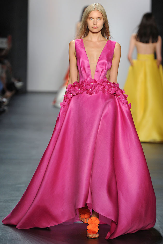 Angel Sanchez Spring 2016 Fuchsia Gown
