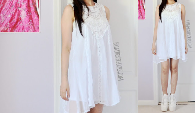 More modeled photos of the chiffon lace white crochet babydoll shift dress from SheIn, reviewed in my post here.
