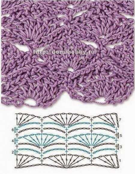 Abanico con esquema crochet puntada ganchillo
