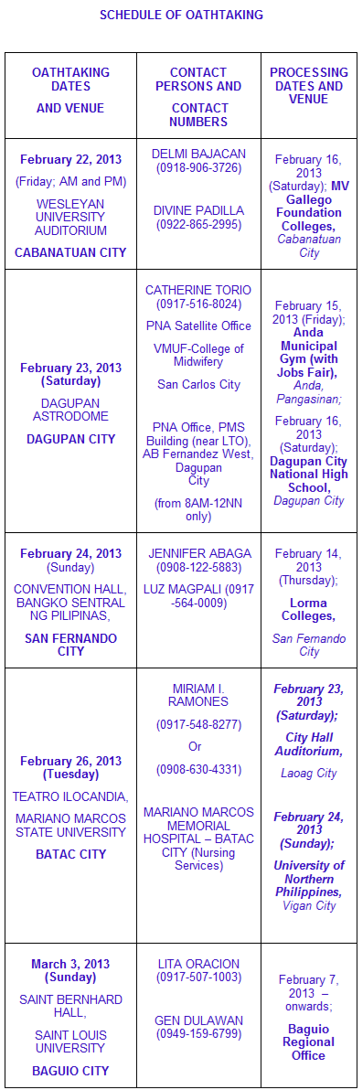 Oath taking schedule December 2012 NLE Passers