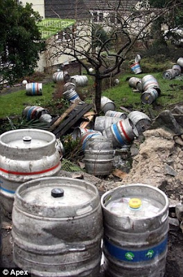 Beer barrels accident