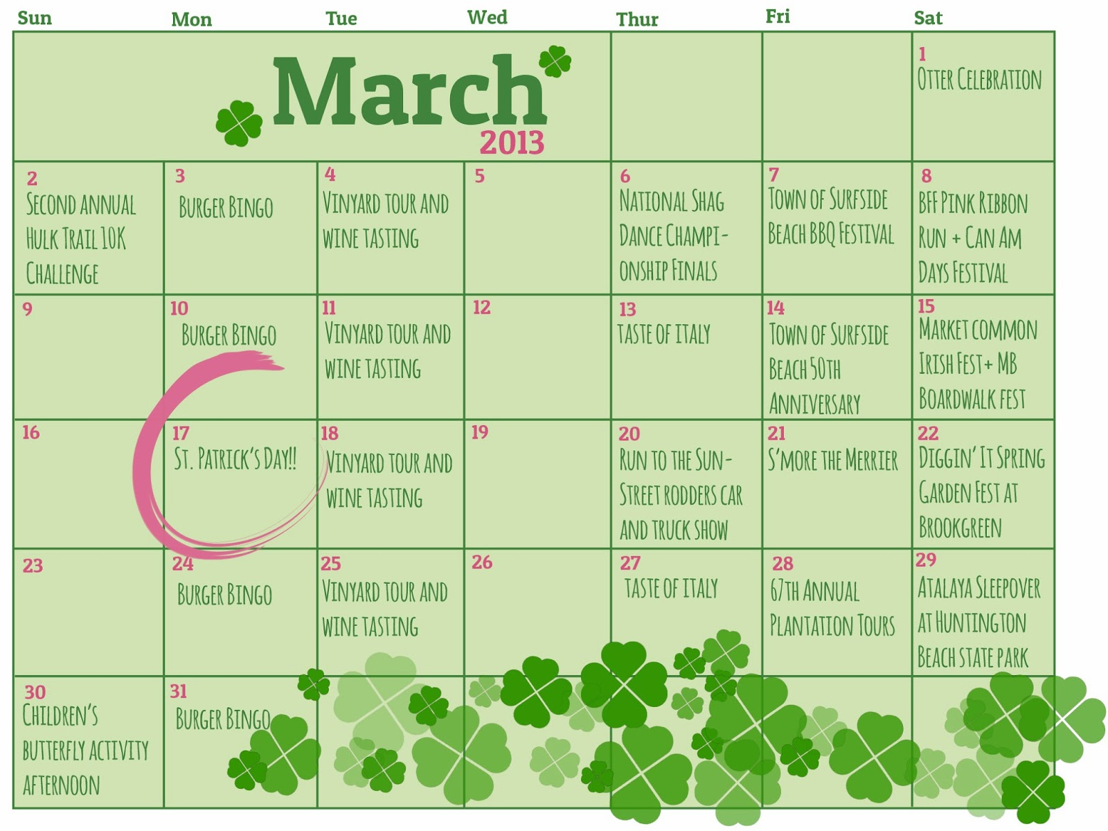 Plantation Resort Insider March Calendar Of Events There S Always Something To Do In Myrtle Beach