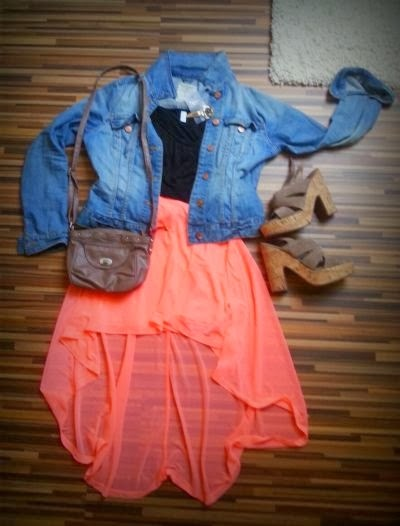 Jeans jacket, black blouse, orange skirt, high heels and hand bag