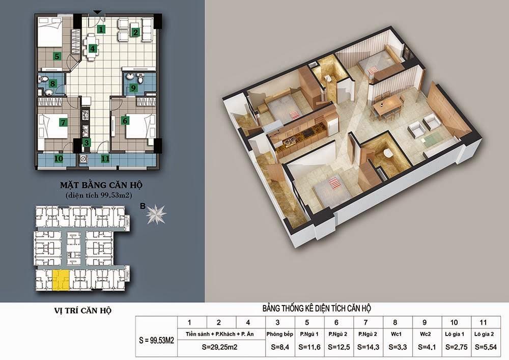 Thiết kế căn hộ 99,53m2
