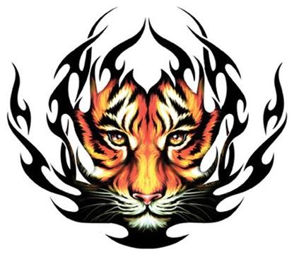 tribal dragon tattoo flash. dragon tiger tattoo. tribal