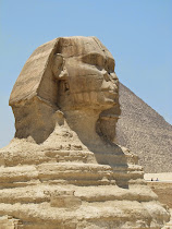 The enigmatic Sphinx: body of a lion, face of King Khafra, accompaniment to pyramids of 3 kings