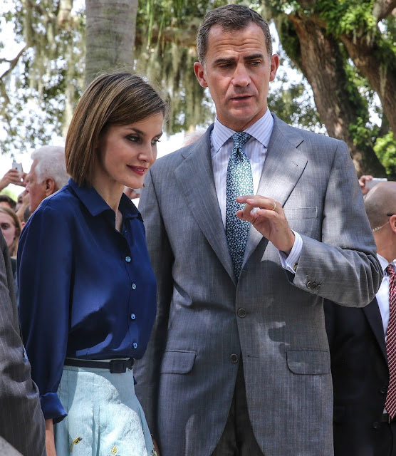 Queen Letizia and King Felipe VI of Spain visit Castillo San Marcos during the 450th St Augustine anniversary