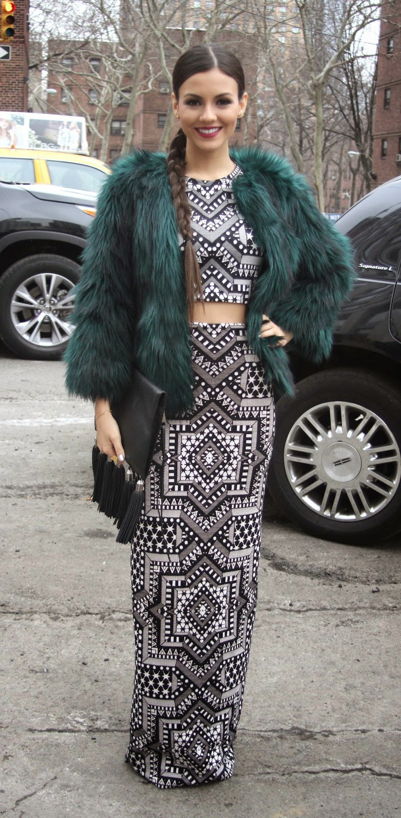 Victoria Justice in a geometric print cropped top and skirt at the New York Fashion Week F/W 2015