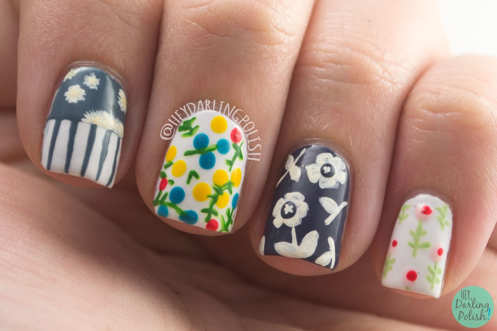 nails, nail art, nail polish, floral, flowers, hey darling polish, tea party, the nail challenge collaborative,