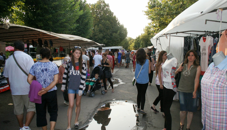 The street is full of market stalls