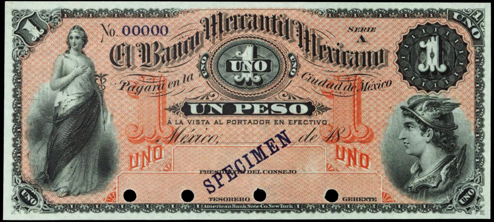 Mexico 1 Peso Banknote 1882 Banco Mercantil Mexicano World