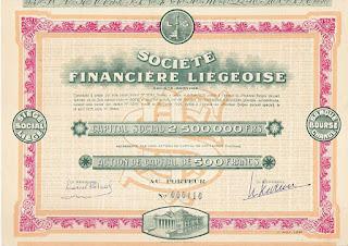 Société Financière Liégeoise, share of 500 Francs, 1925