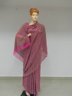 Indigo Saree with Chikankari Embroidery
