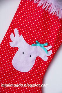 skarpeta na prezenty but św Mikołaja prezentowy czerwony białe kropeczki renifer gwiazdka Boże Narodzenie