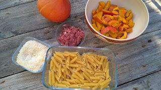 Pennes au potimarron, parmesan et bacon