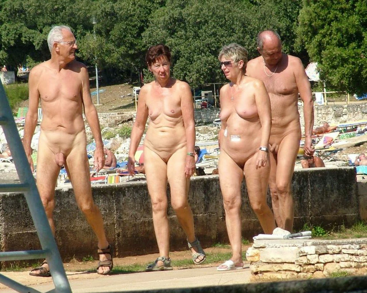 Family at nude beach