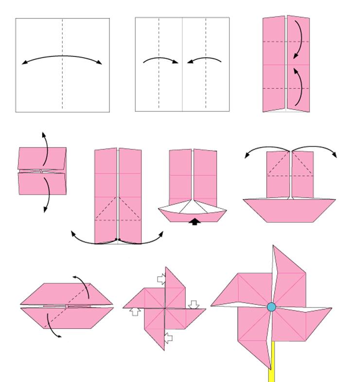 paso a paso origami - molinillo de viento