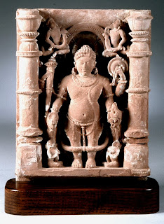 Vamana, Vishnu's dwarf avatar, who by his unsuspected ability to grow to gigantic size won back the celestial kingdom for the gods after they had been driven from it by the Daitya Bali. Stone sculpture, eleventh century. Bharat Kala Bhavan, Banaras Hindu University.