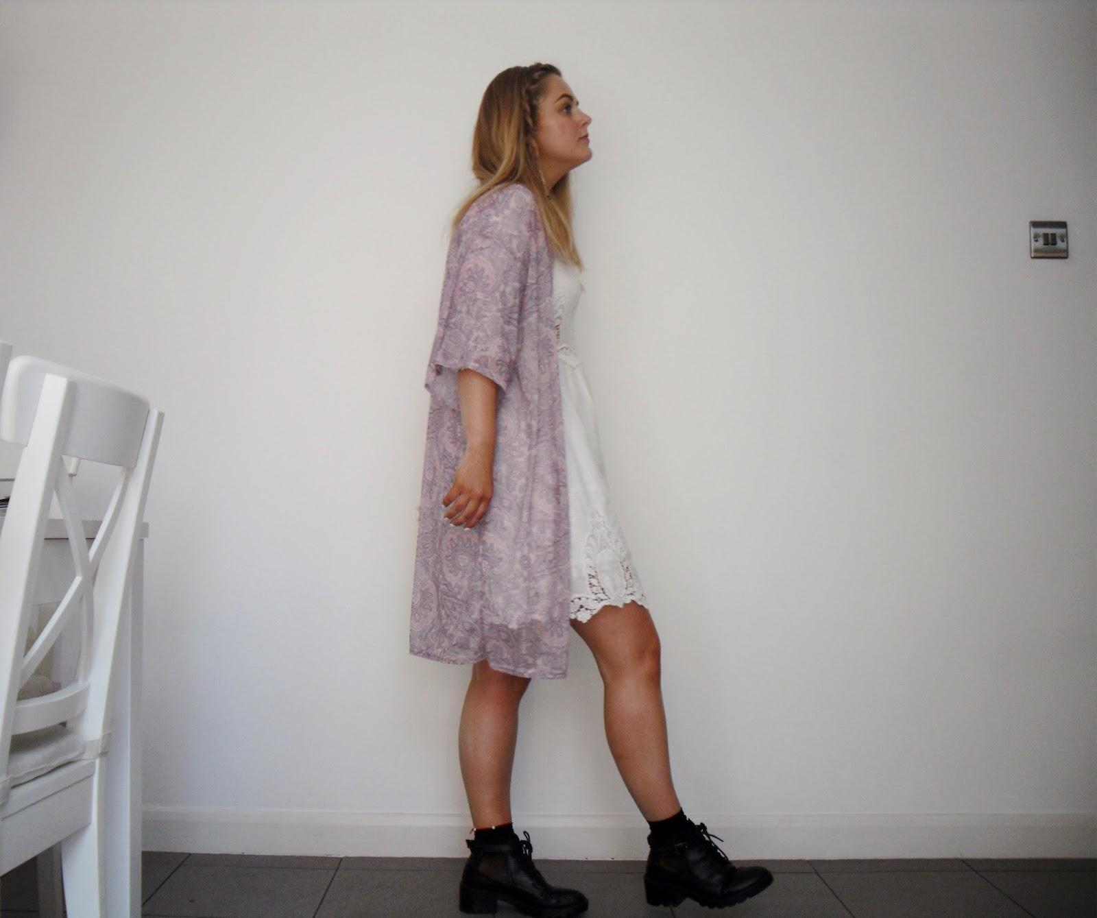white dress bohemian kimono boots boho personal style primark missguided topshop