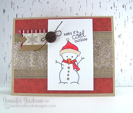 Snowman card by Jennifer Jackson for Newton's Nook Designs - Frozen Friends Stamp Set
