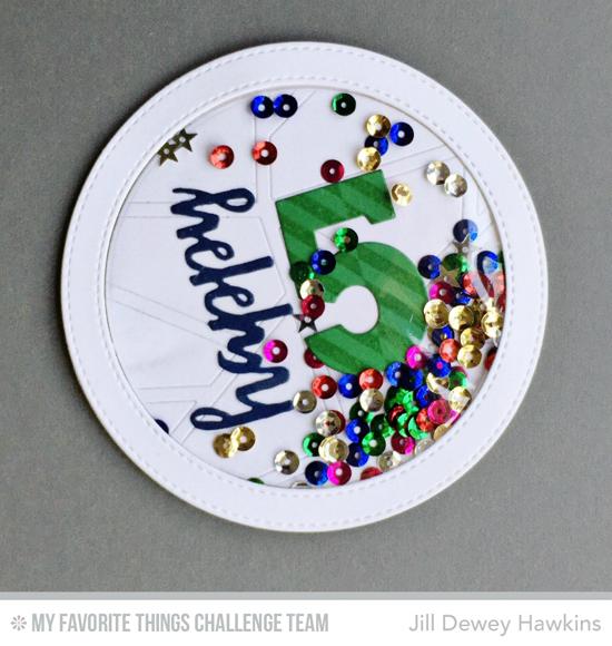 Happy 5 Round Card by Jill Dewey Hawkins featuring the Big Numbers, Brushstroke BIrthday Greetings, and Pierced Circle Frames Die-namics #mftstamps