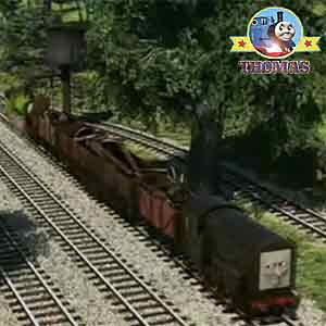 Thomas Percy and Diesel the tank engine stopped at the Island of Sodor water tower refill station