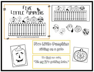 Vibrant image pertaining to five little pumpkins sitting on a gate printable