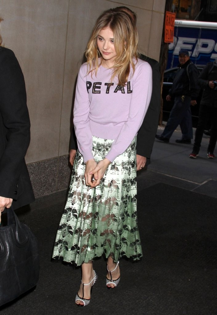 Chloe Moretz wears Christopher Kane to The Today Show in NYC