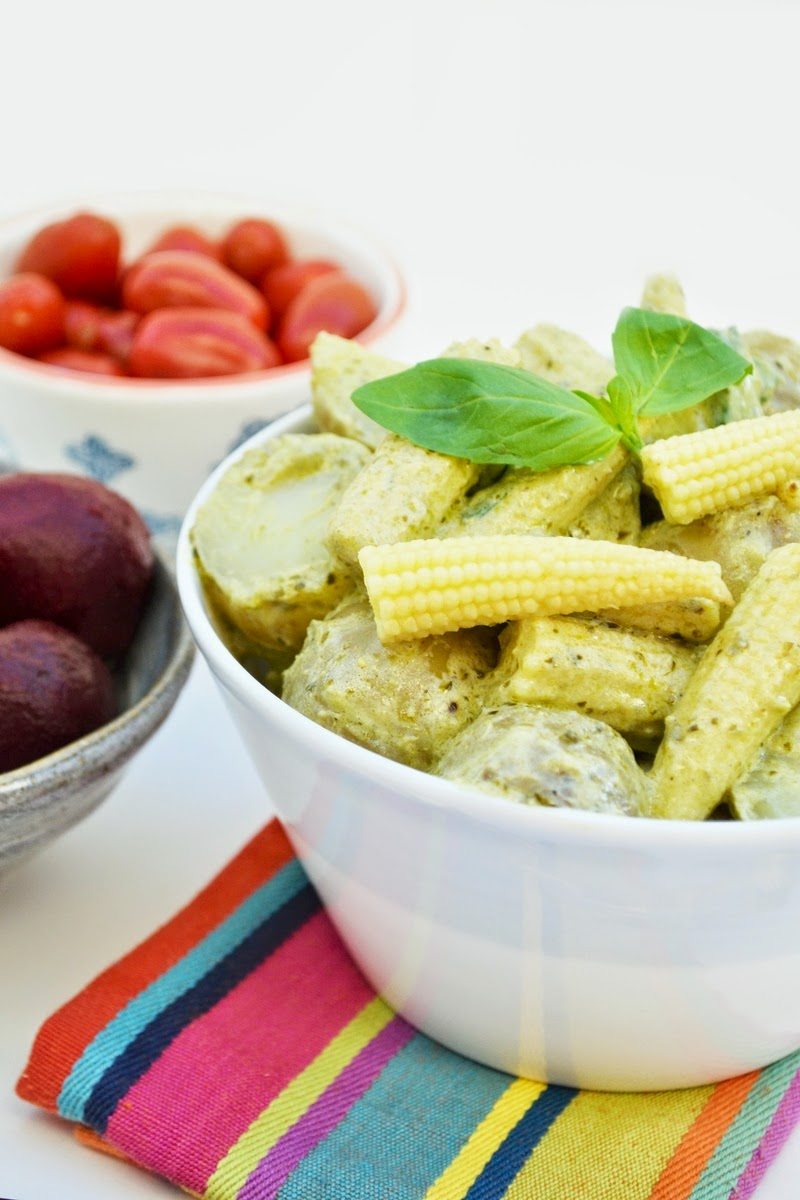 Creamy Pesto Potato Salad with Baby Corn (vegan)