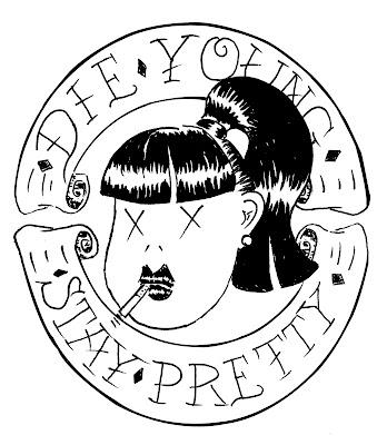die young stay pretty head logo rockabilly chick