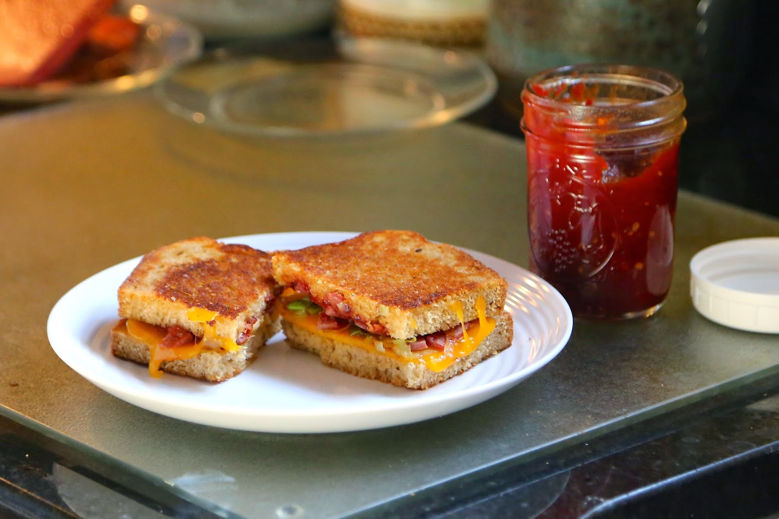 Grilled Cheese with Country Ham, Leeks, and Tomato Jam | Farm Fresh Feasts