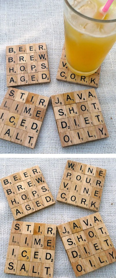 Scrable tiles as Drink Coasters 