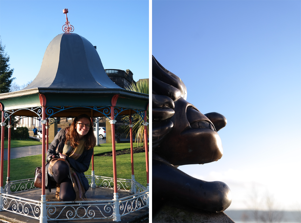 Elise in a tiny bandstand and a lemmings statue