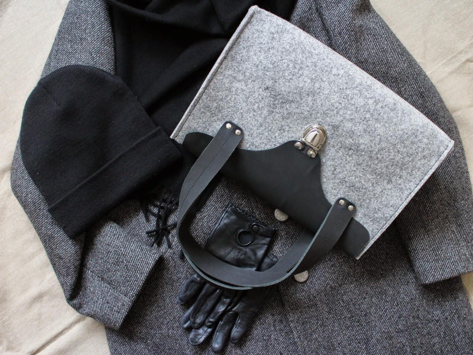 женская сумка из кожи и фетра