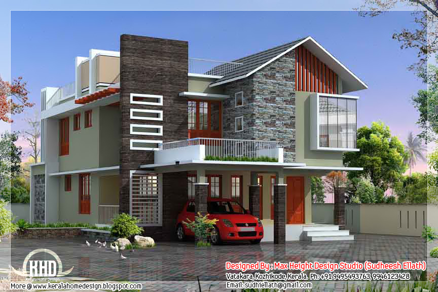 2500 contemporary modern home design kerala for Contemporary house designs