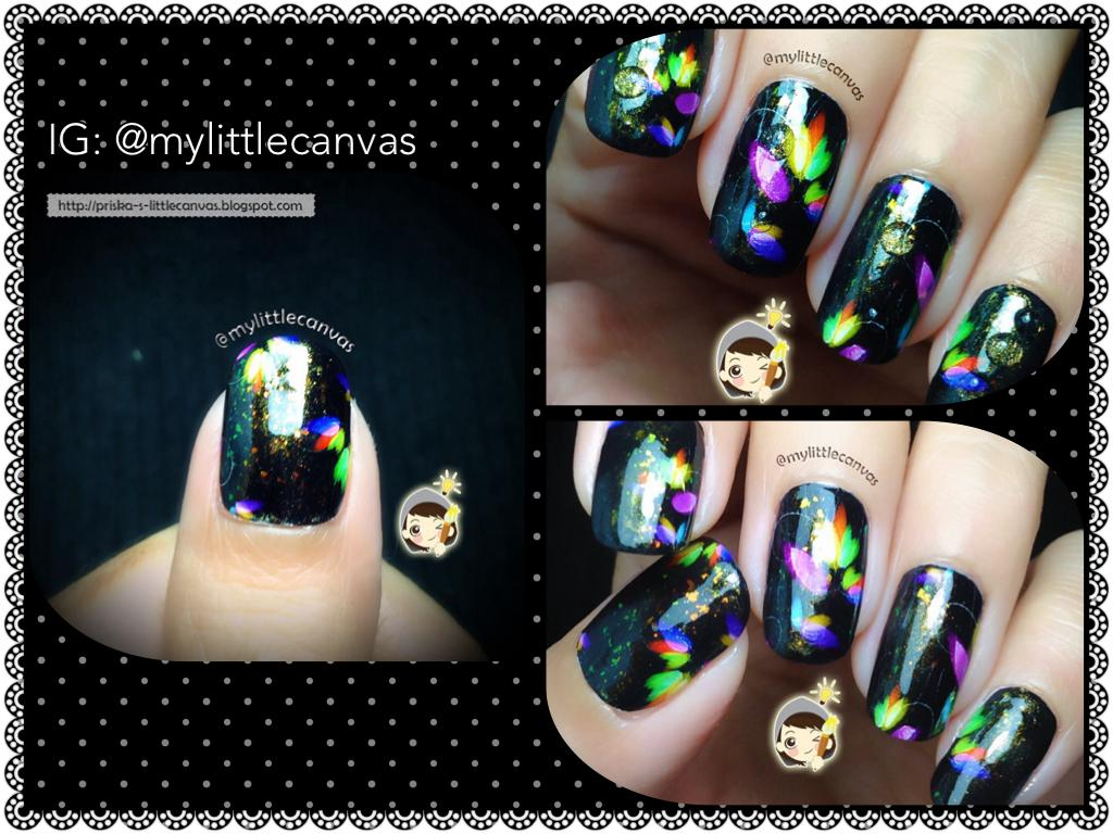 Nails by @mylittlecanvas: Dreamy Flowers over Black