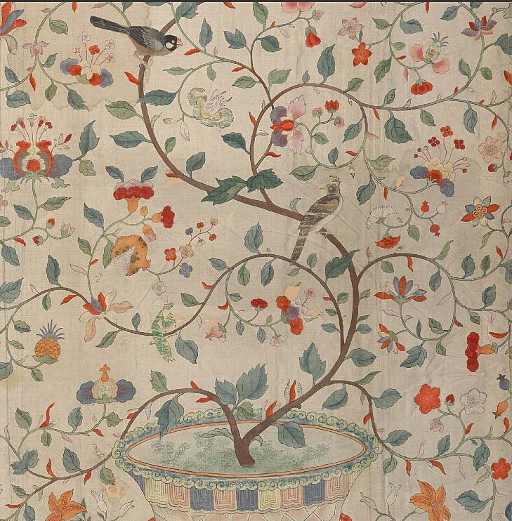Studio and garden at the met traveling textiles for Garden design 18th century