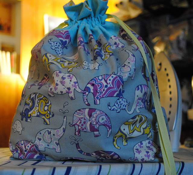 in color order drawstring bag- elephants