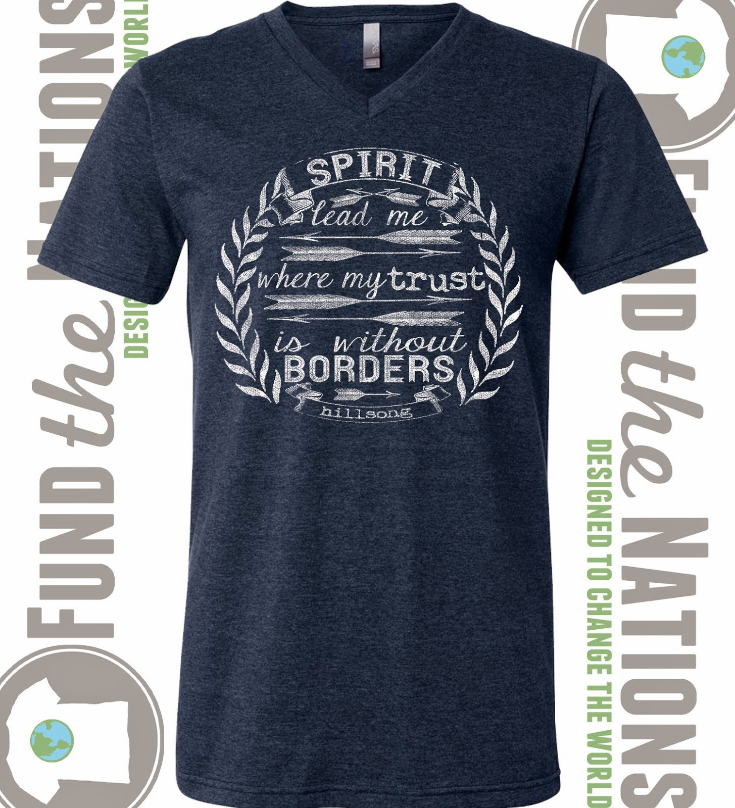 Spirit Lead Me Heather Navy V-Neck