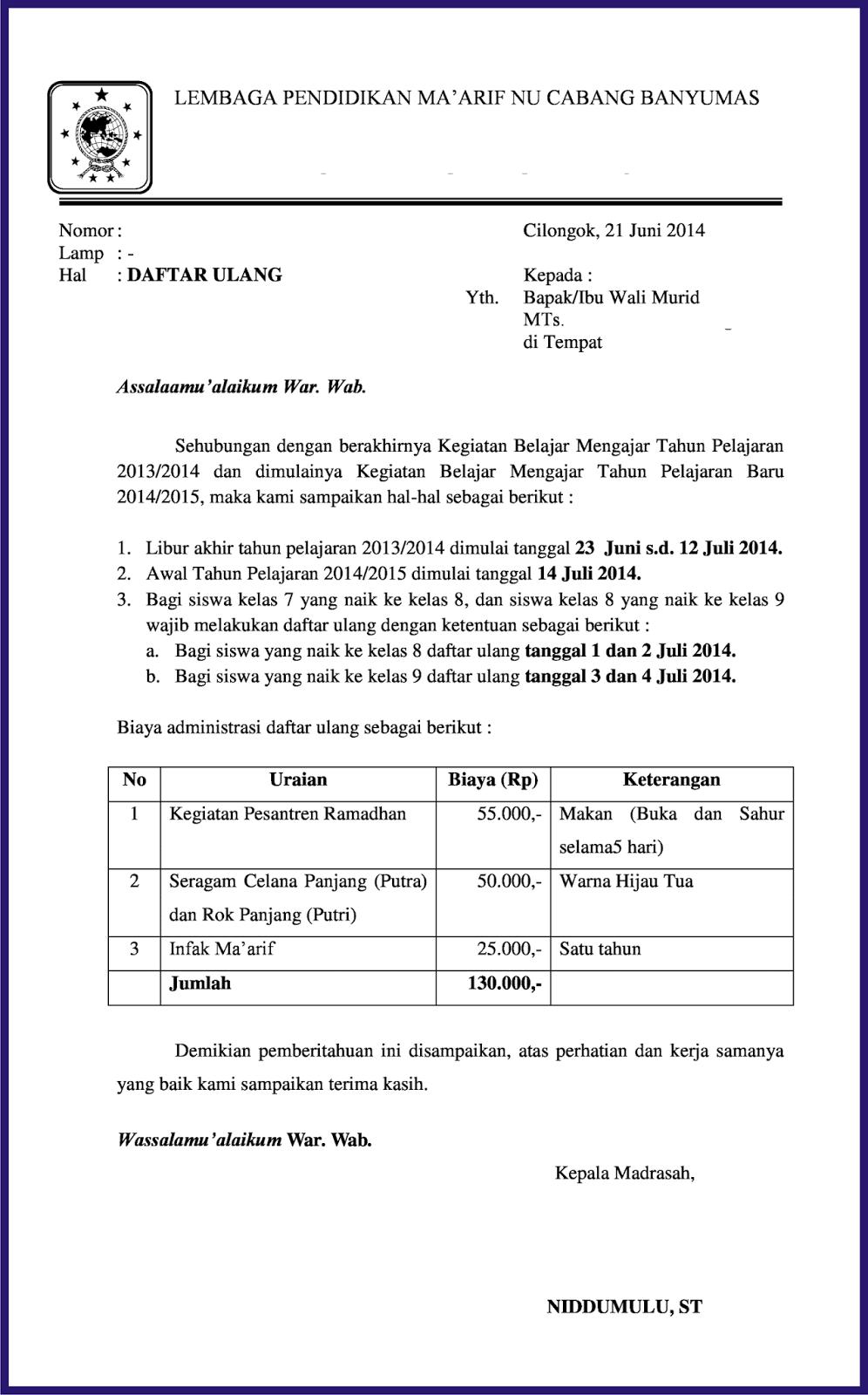 Surat Pemberitahuan Daftar Ulang Siswa Bangnidd File